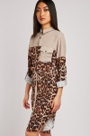 Leopard Print Contrasted Shirt Dress