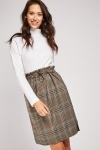 Glen Check Toggle Waist Skirt