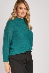 Bobble Textured Teal Jumper