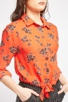Tie Up Flower Print Shirt