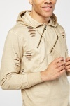 Distressed Zip Trim Hooded Jumper