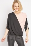 Two-Tone Low Plunge Blouse