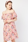 Vintage Flower Off Shoulder Dress