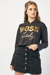 Metallic Boss Lady Crop Hoodie