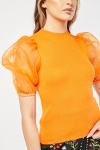 Organza Sleeve Ribbed Top