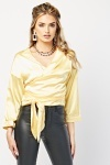 Sateen Crop Wrap Blouse