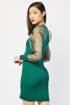 Organza Sleeve Ribbed Dress