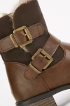 Brown Buckle Strap Boots
