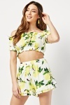 Printed Crop Top And Shorts Co-ords