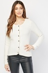 Textured Button Front Cardigan