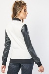 Faux Leather Sleeve Bomber Jacket