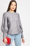 Bishop Sleeve Grey Blouse