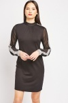 Sequin Sleeve Panel Shift Dress