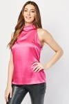 Tie Up Neck Back Sateen Top