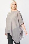 Grey Sheer Asymmetric Hem Top