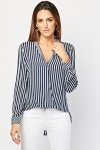 Vertical Stripe Wrap Blouse