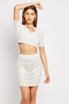 Suedette Crop Top And Skirt Set