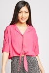 Tie Up Hem Crop Blouse