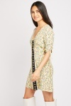 Hook And Eye Front Floral Dress