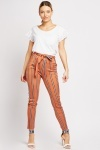 Striped High Waisted Skinny Trousers