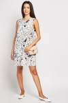 Large Flower Print Shift Dress