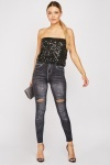 Encrusted Cut Out Knee Leggings