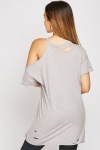Distressed Cold Shoulder Cotton Top