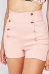 Button Detail Stretchy Shorts