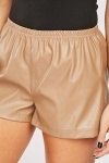 Faux Leather Latte Shorts