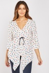 Polka Dot Asymmetric Blouse