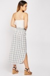 Curved Hem Plaid Skirt