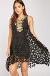 Embroidered Front Perforated Dress