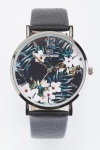 Tropical Floral Print Dial Watch