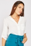 Adjustable Sleeve White Blouse