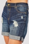 Distressed Denim Cotton Shorts
