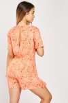 Ruffle Wrap Printed Playsuit