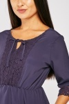 Crochet Insert Navy Blouse