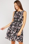 Printed Organza Skater Dress