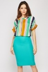 High Waist Midi Ribbed Skirt