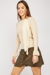 Tie Up Neck Rib Knit Top