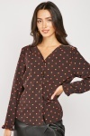 Polka Dot V-Neck Blouse