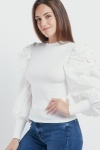 Extreme Puff Sleeve Ribbed Top