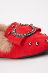 Fur Trim Studded Loafers
