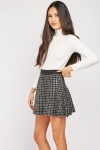 Elasticated Windowpane Mini Skirt