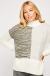 High Neck Speckled Two Tone Knit Jumper