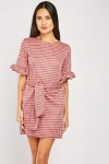 Frill Sleeve Tie Up Mini Dress