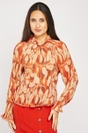 Pleated Leaf Print Blouse