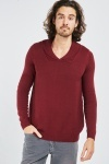 Ribbed Trim Wine Knit Sweater