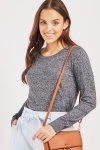 Speckled Ribbed Trim Knit Top