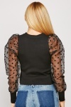 Polka Dot Organza Sleeve Knit Top